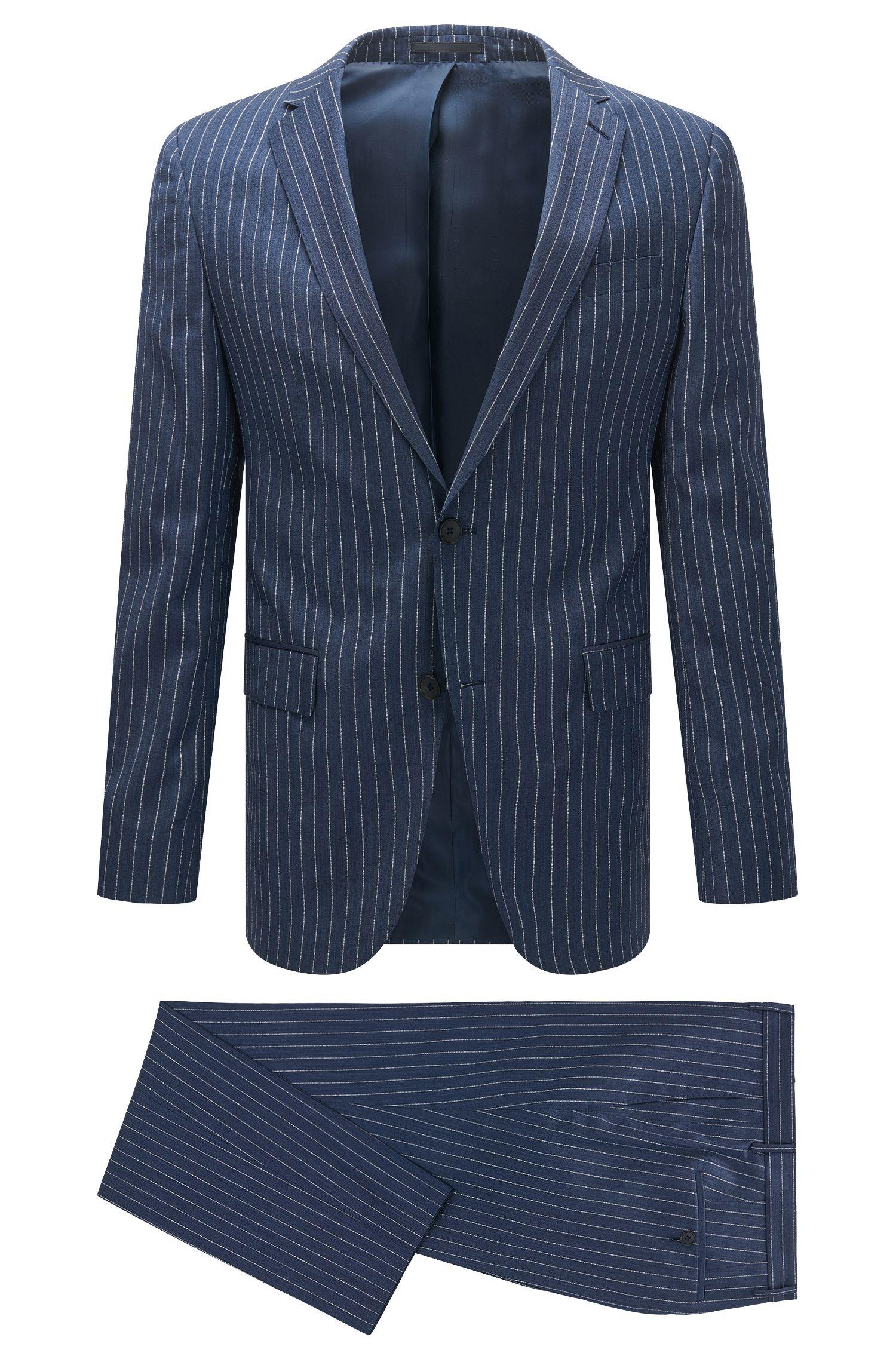 Pinstripe Virgin Wool Suit, Slim Fit   Novan/Ben