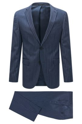 Pinstripe Virgin Wool Suit, Slim Fit | Novan/Ben, Blue