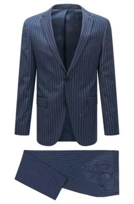 Pinstripe Virgin Wool Suit, Slim Fit | Novan/Ben, Blue