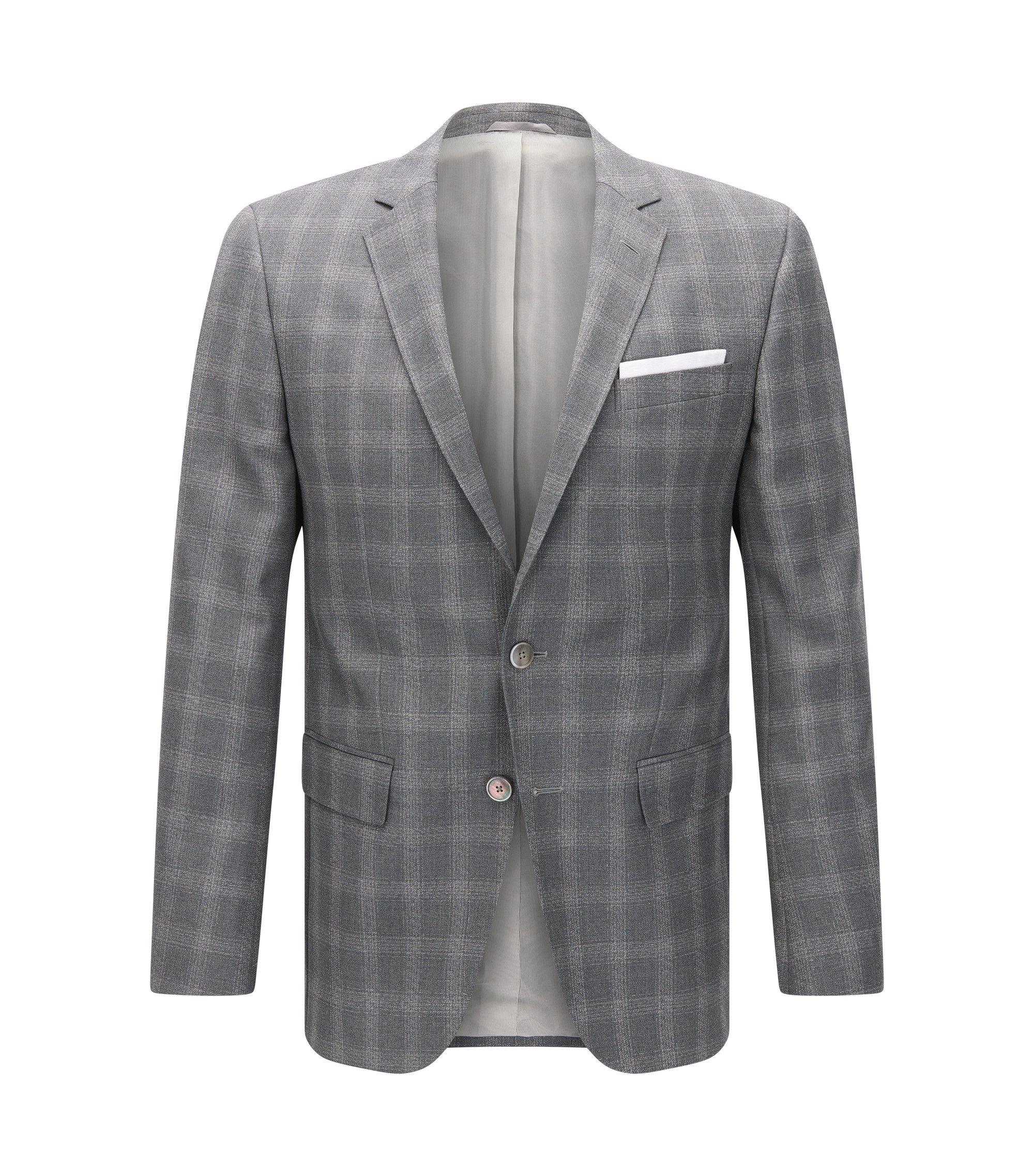 Windowpane Italian Virgin Wool Sport Coat, Slim Fit | Hutsons, Grey