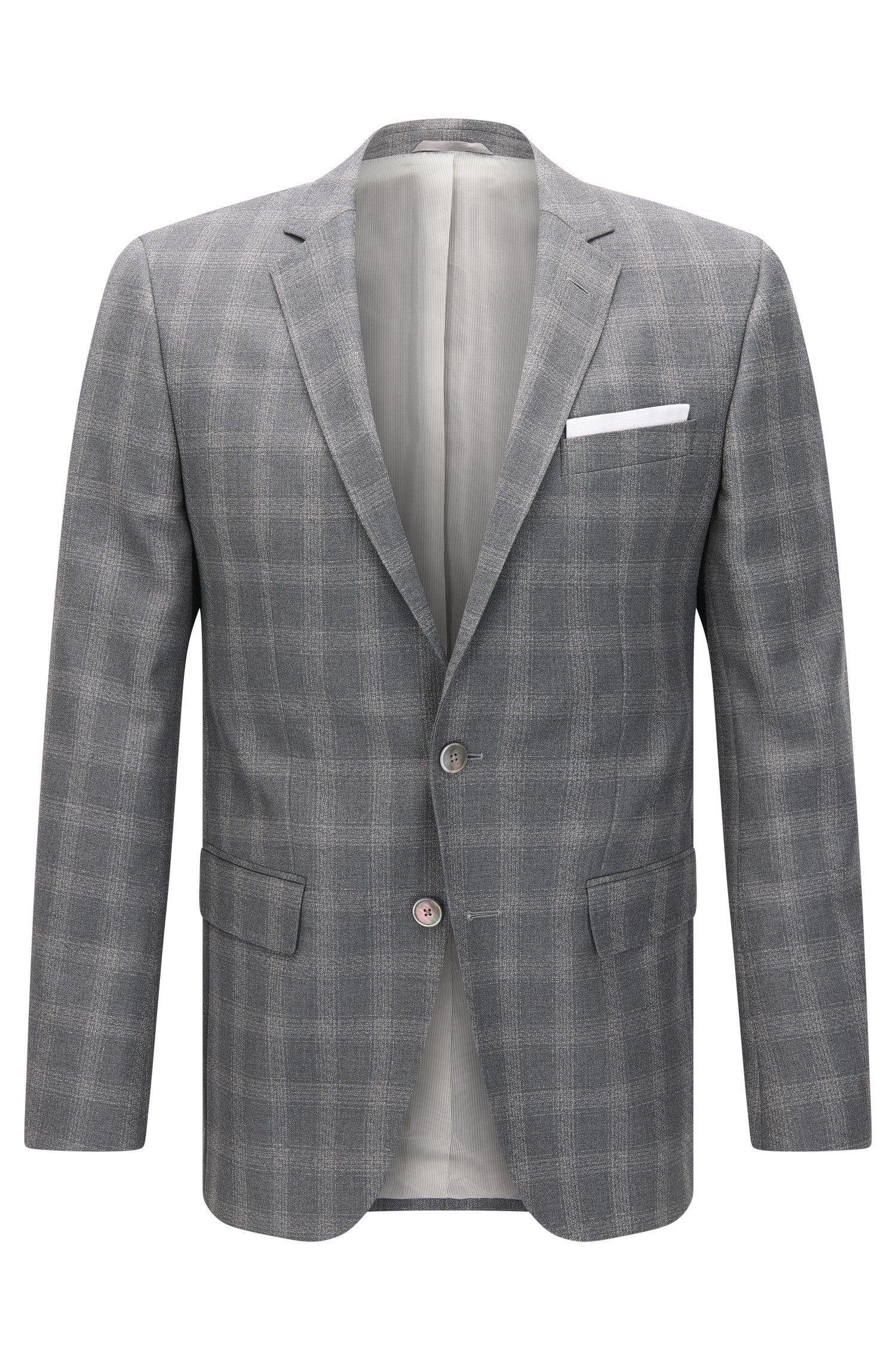 Windowpane Italian Virgin Wool Sport Coat, Slim Fit   Hutsons