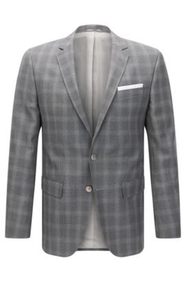 'Hutson' | Slim Fit, Windowpane Italian Virgin Wool Sport Coat, Grey