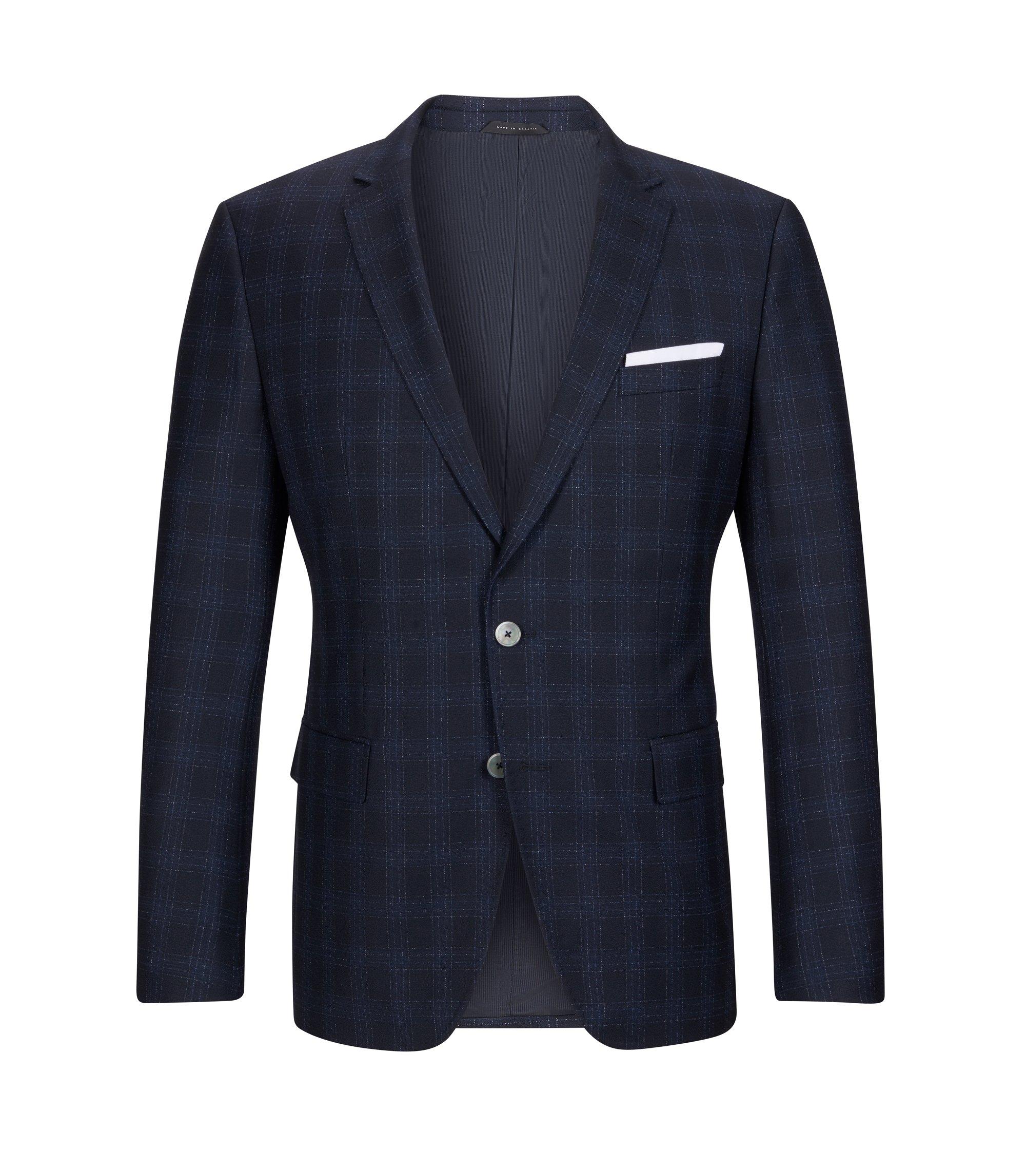 Windowpane Italian Virgin Wool Sport Coat, Slim Fit | Hutsons, Dark Blue