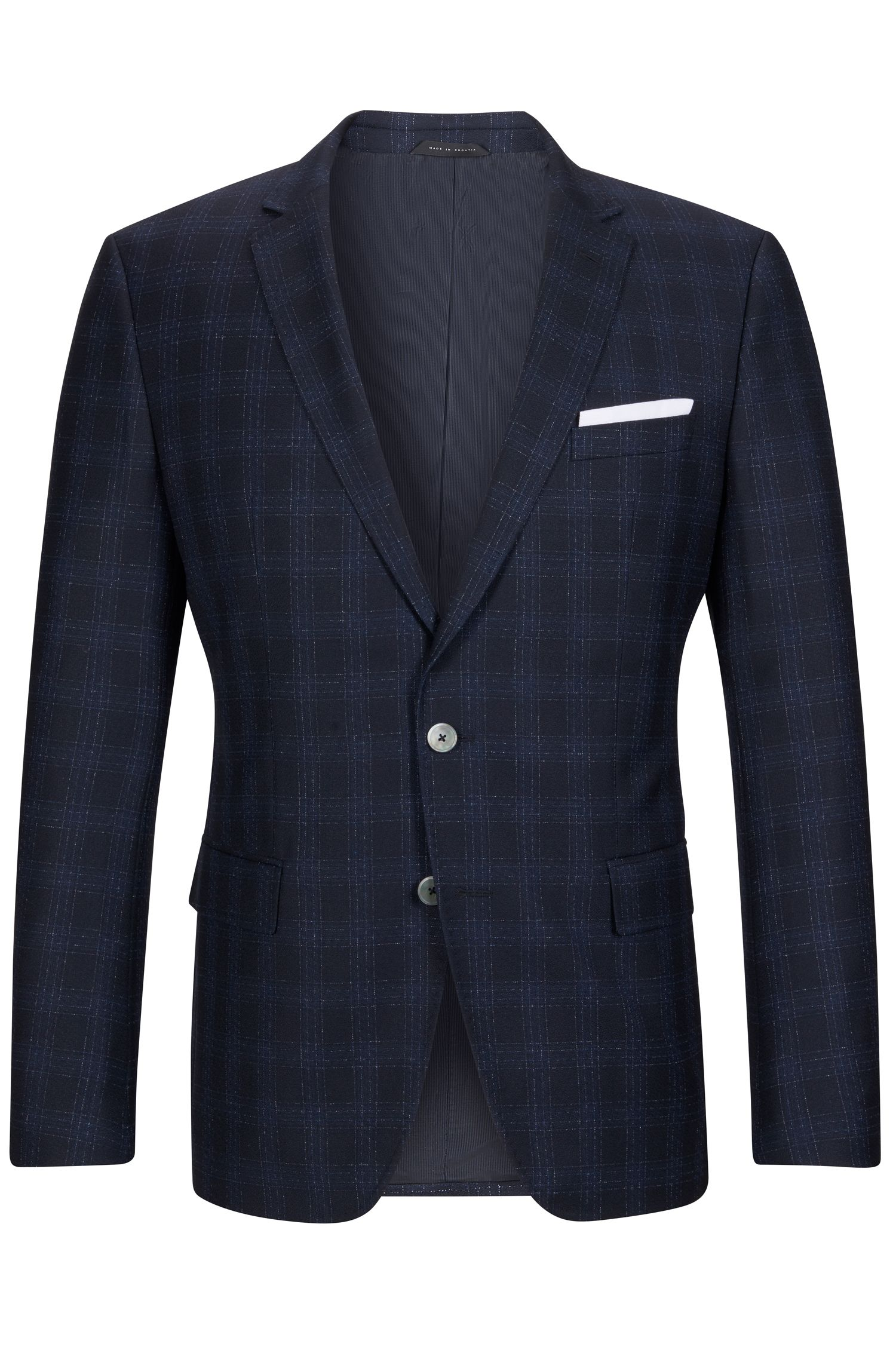Windowpane Italian Virgin Wool Sport Coat, Slim Fit | Hutsons, Dark Blue