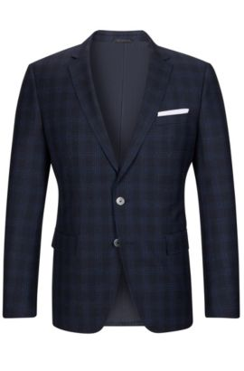 'Hutson' | Slim Fit, Windowpane Italian Virgin Wool Sport Coat, Dark Blue