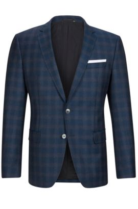 'Hutson' | Slim Fit, Windowpane Italian Virgin Wool Sport Coat, Turquoise