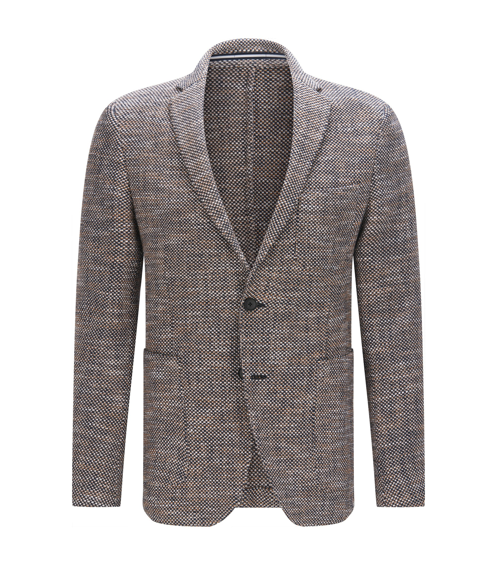 Cotton Blend Tweed Sport Coat, Slim Fit | Newon, Dark Blue
