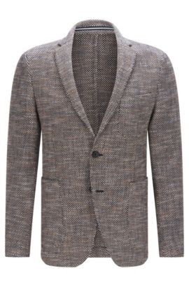 'Newon' | Slim Fit, Cotton Blend Tweed Sport Coat, Dark Blue