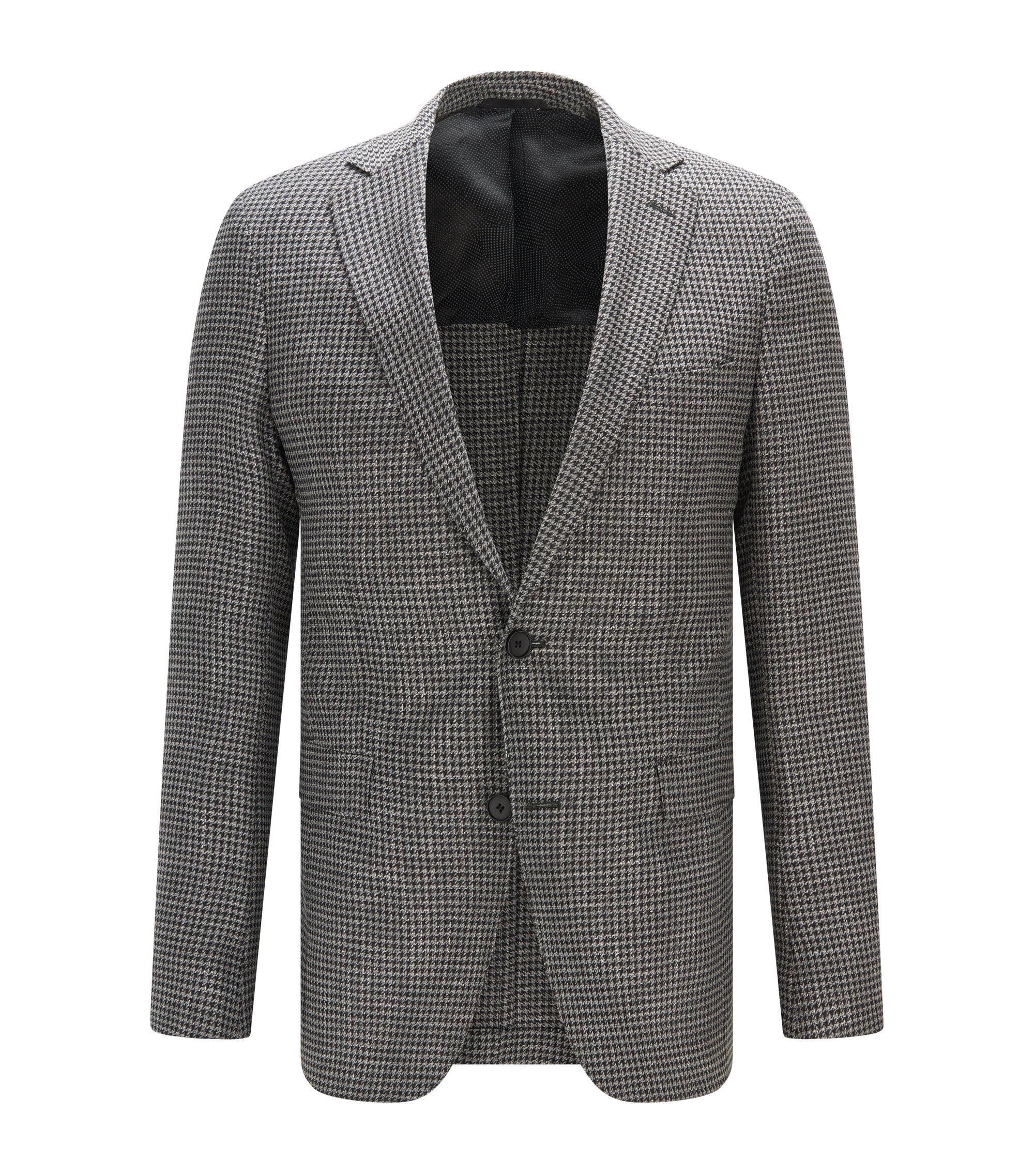 Houndstooth Stretch Virgin Wool Sport Coat, Extra Slim Fit | Roan, Open Grey