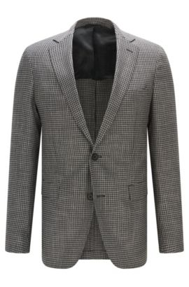 Houndstooth Stretch Virgin Wool Sport Coat, Extra Slim Fit | Roan, Open Grey