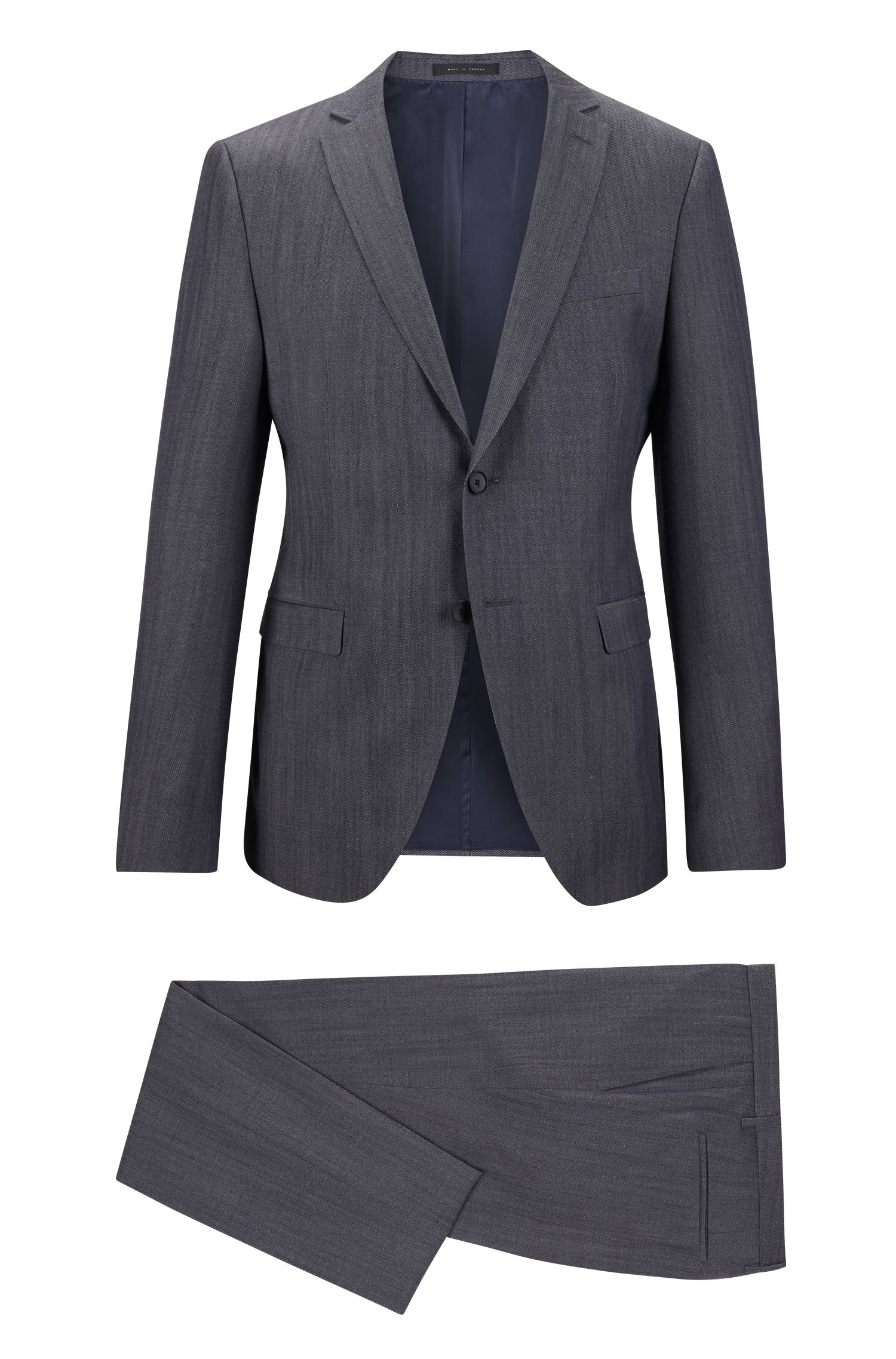 Denim Virgin Wool Suit, Extra-Slim Fit   Reyno/Wave