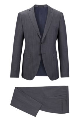 Denim Virgin Wool Suit, Extra-Slim Fit | Reyno/Wenton, Blue