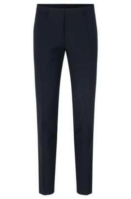 'Weikko' | Extra Slim Fit, Virgin Wool Mohair Pants, Dark Blue