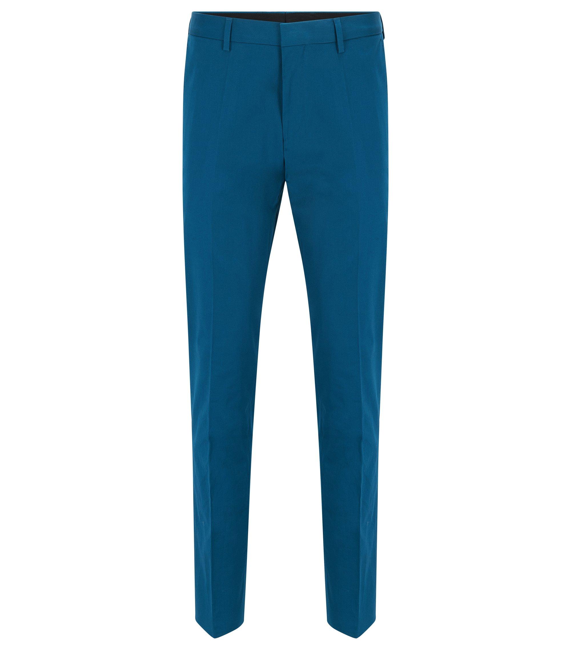 Stretch Cotton Dress Pant, Slim Fit   Genesis, Turquoise