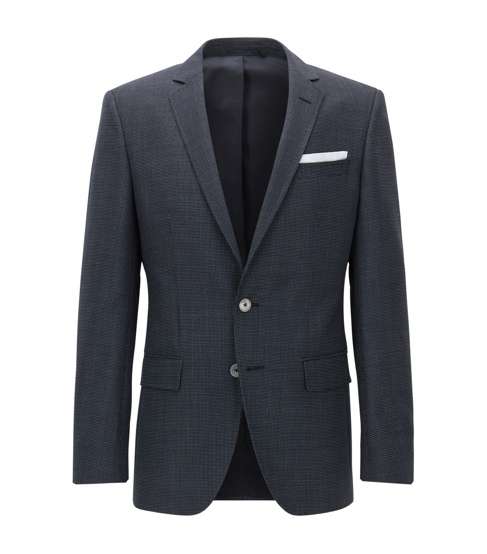 Nailhead Virgin Wool Sport Coat, Slim Fit | Hutsons, Dark Blue