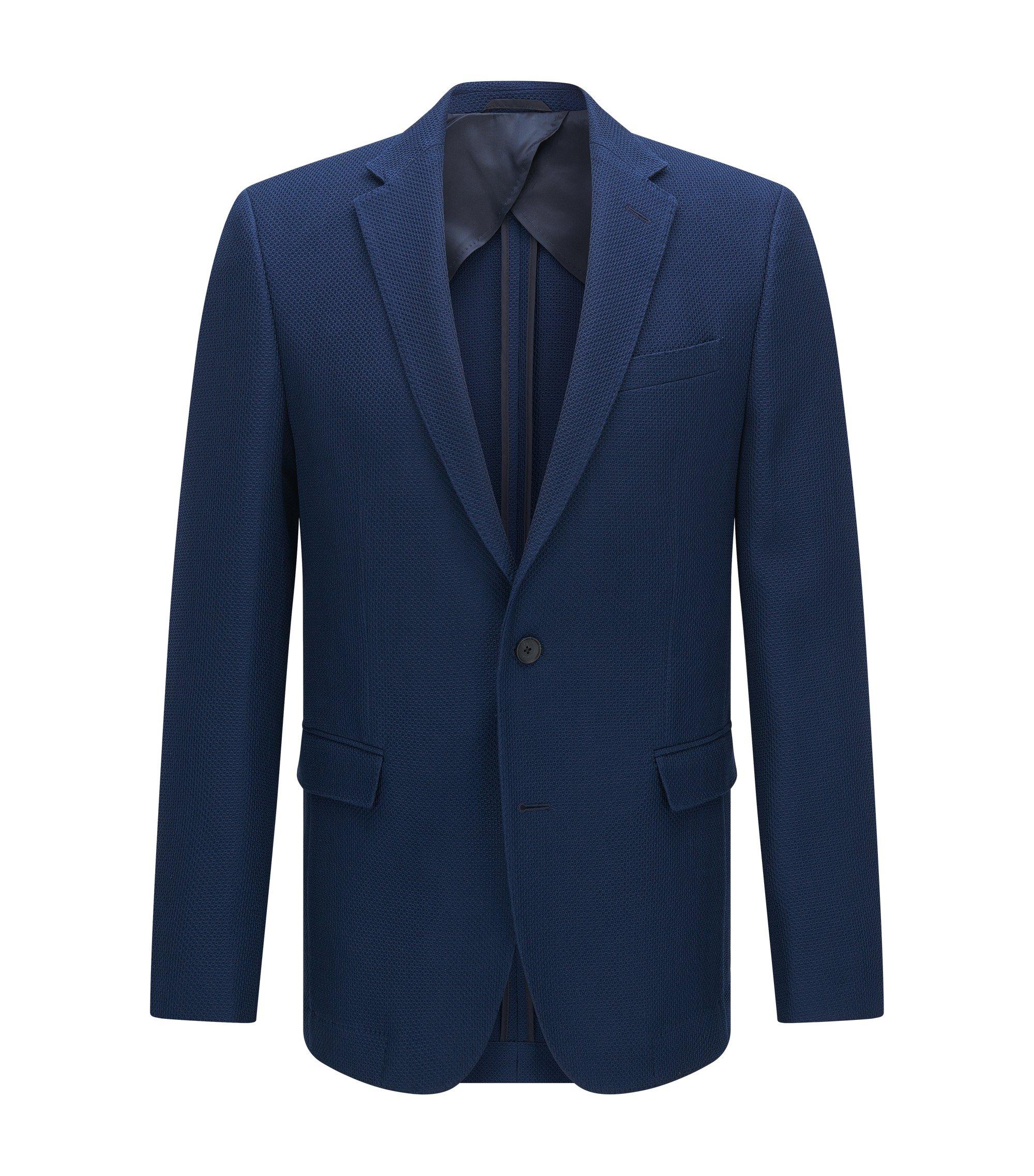 Virgin Wool Cotton Sport Coat, Slim Fit   Nobis, Dark Blue