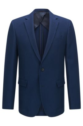 Virgin Wool Cotton Sport Coat, Slim Fit | Nobis, Dark Blue