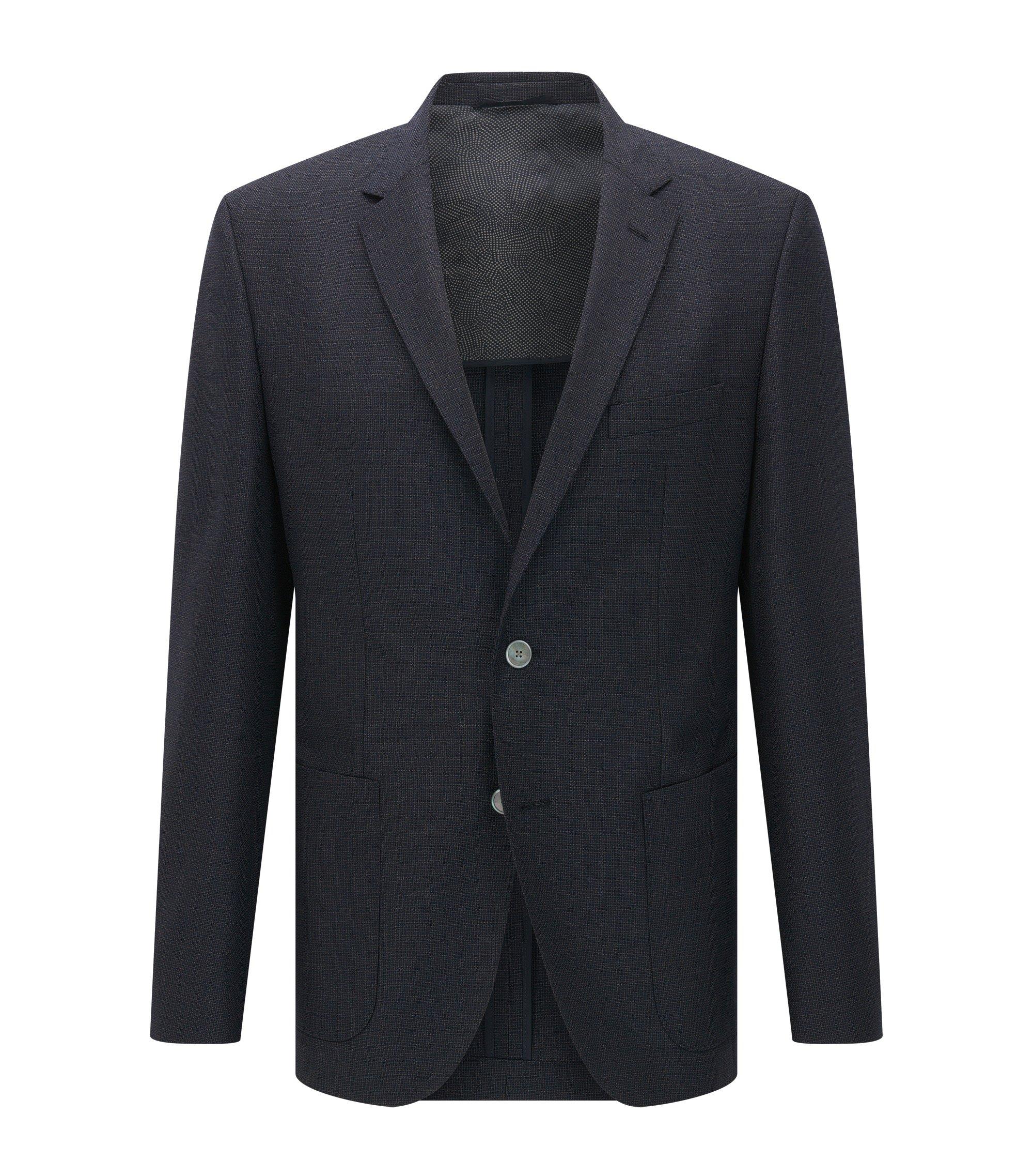 Italian Virgin Wool Sport Coat, Regular Fit   Janson, Dark Blue