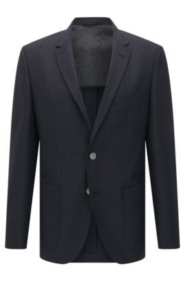 'Janson' | Regular Fit, Italian Super 120 Virgin Wool Sport Coat, Dark Blue