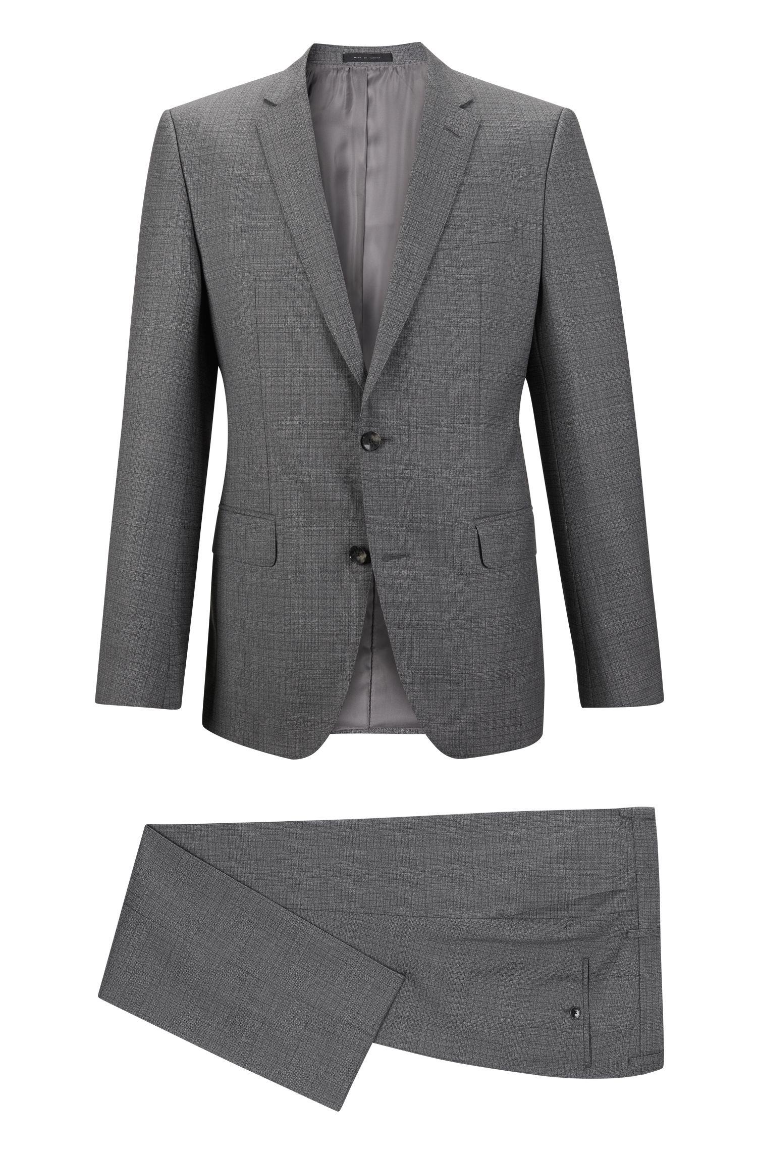Checked Virgin Wool Suit, Slim Fit | Huge/Genius, Grey
