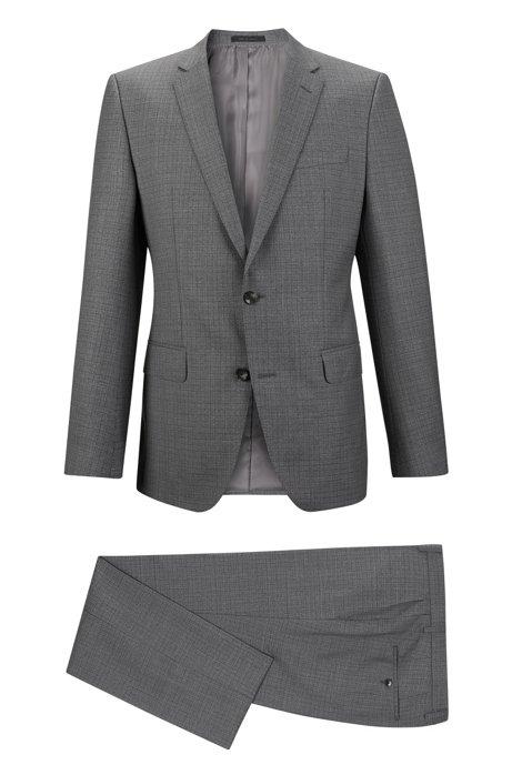 1064e593 BOSS - Checked Virgin Wool Suit, Slim Fit | Huge/Genius