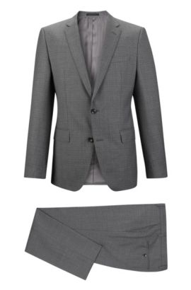 Check Super 120 Virgin Wool Suit, Slim Fit | Huge/Genius, Grey
