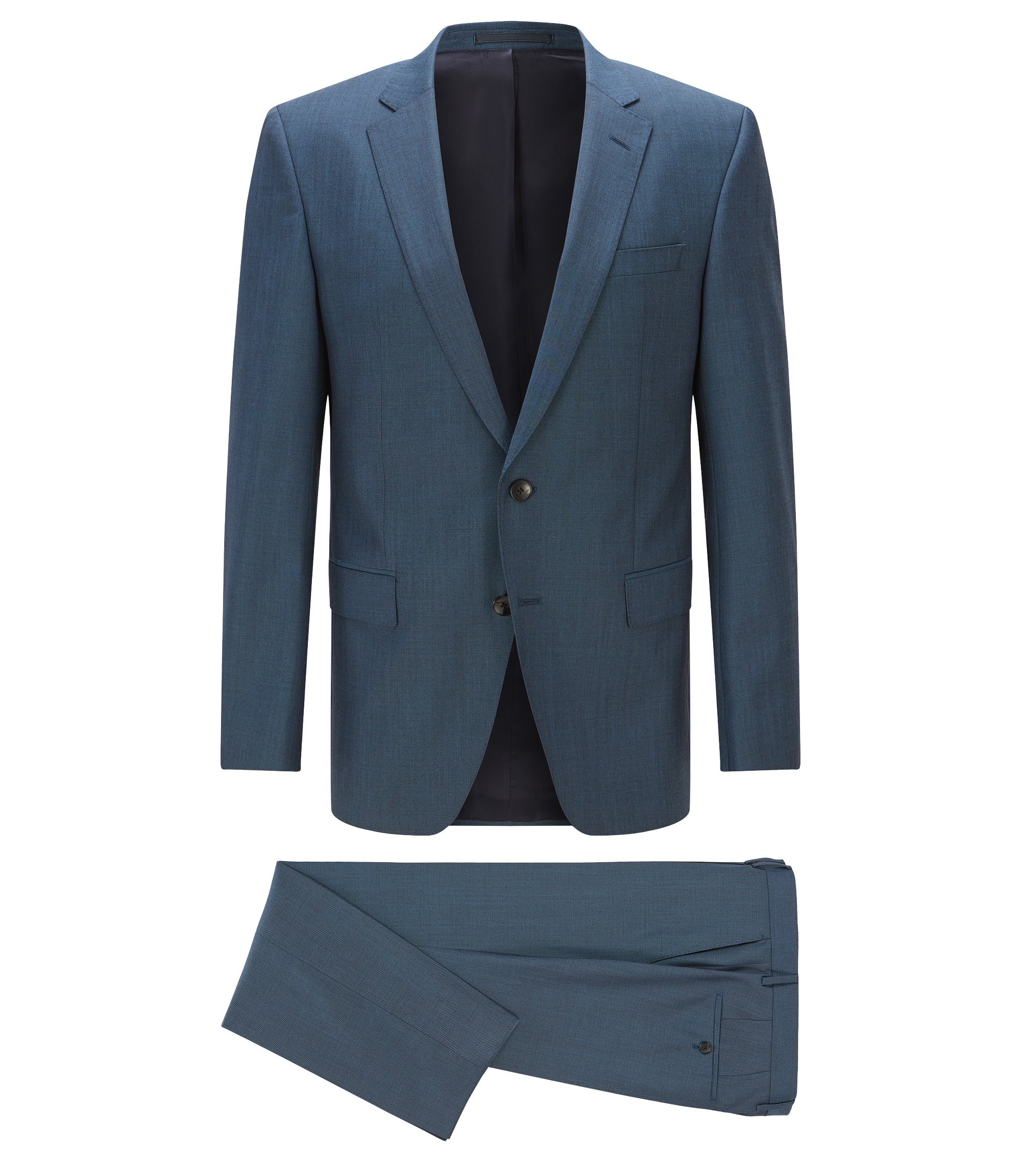 Italian Virgin Wool Suit, Slim Fit | Huge/Genius, Turquoise