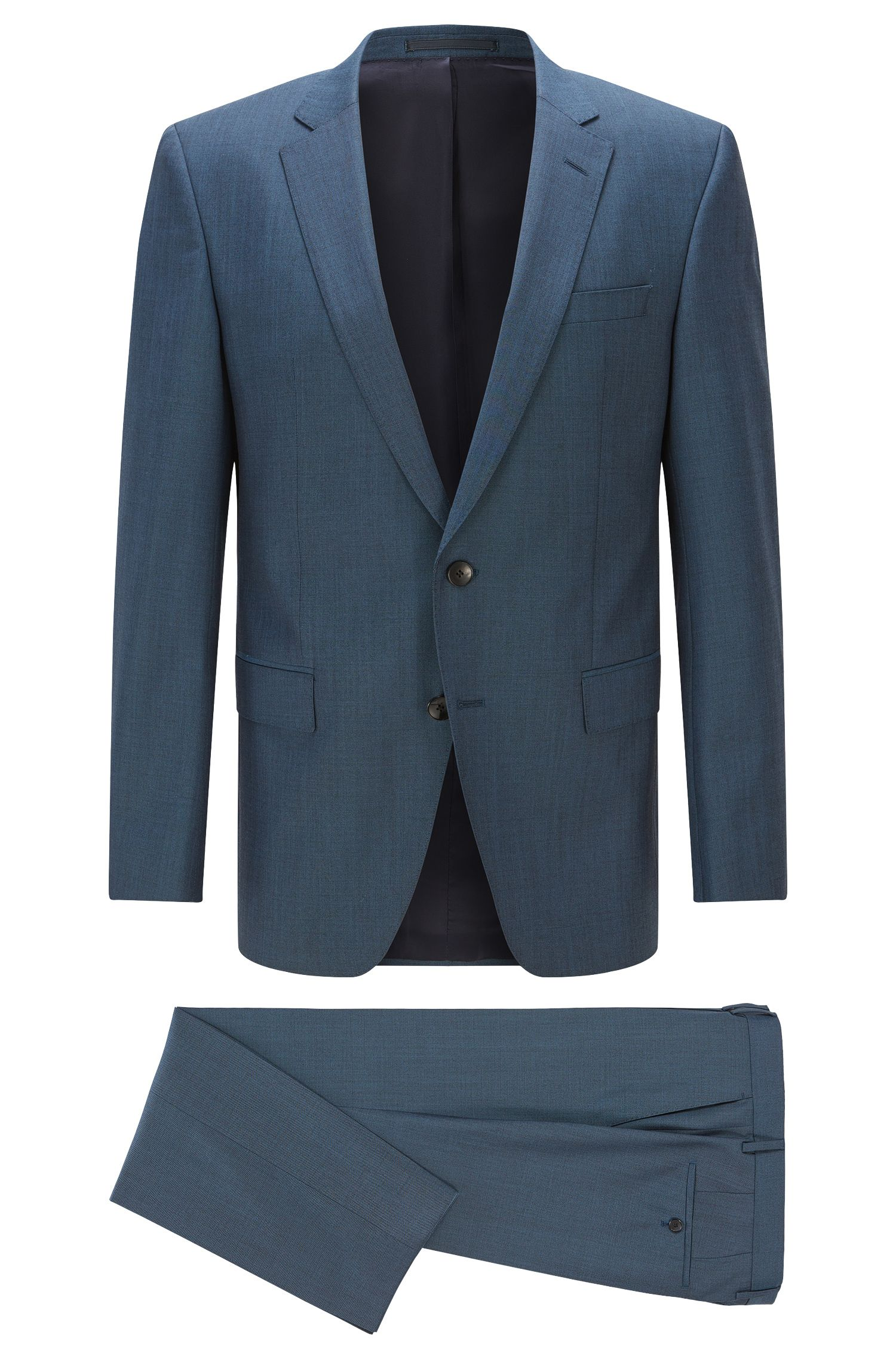 Italian Heathered Super 120 Virgin Wool Suit, Slim Fit | Huge/Genius