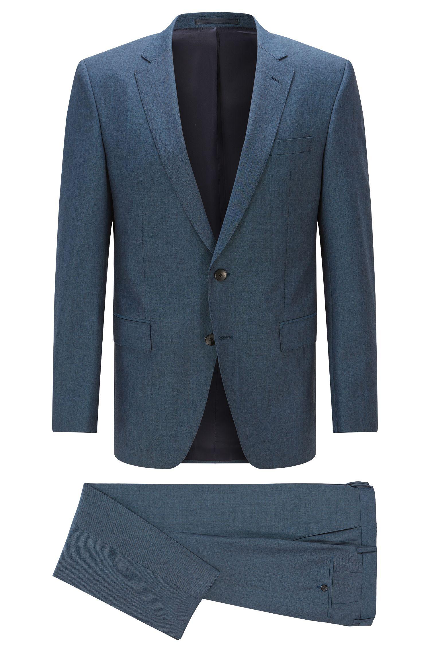 Italian Heathered Super 120 Virgin Wool Suit, Slim Fit | Huge/Genius