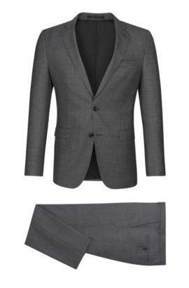 Virgin Wool Suit, Slim Fit | Novan/Ben, Open Grey