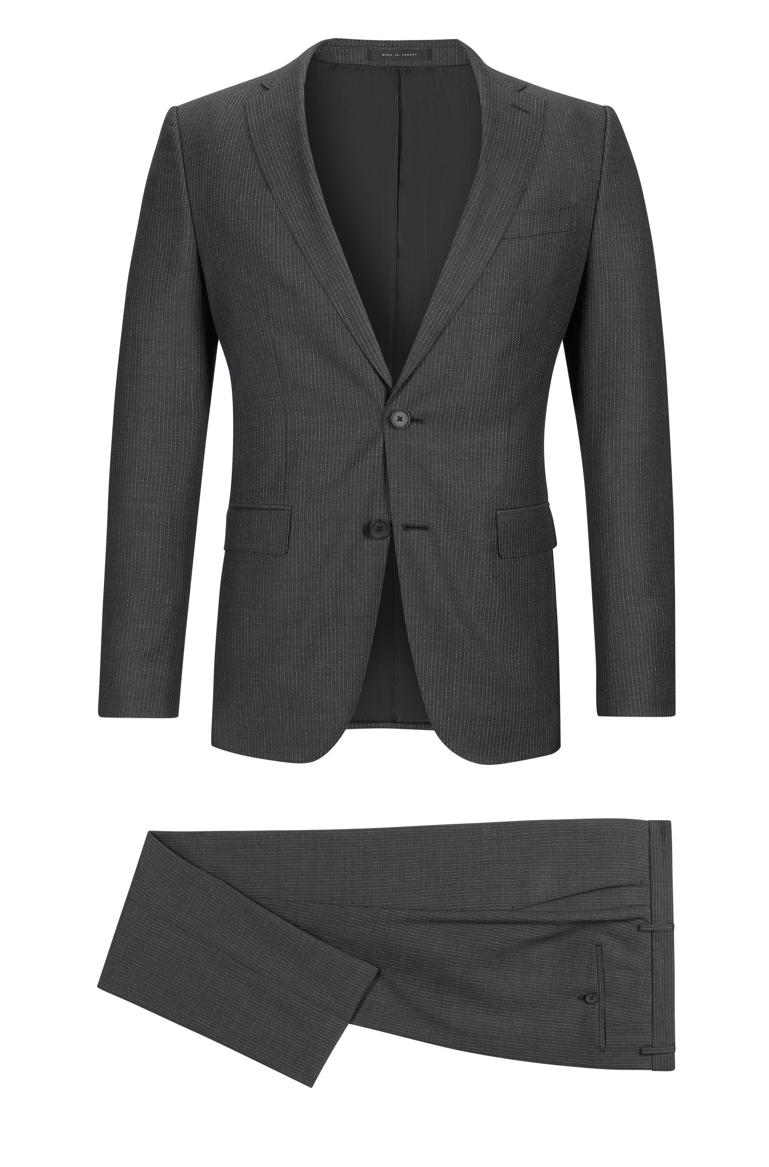 Pinstriped Italian Super 120 Virgin Wool Suit, Slim Fit | Novan/Ben