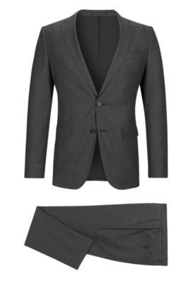 Pinstriped Italian Super 120 Virgin Wool Suit, Slim Fit | Novan/Ben, Grey