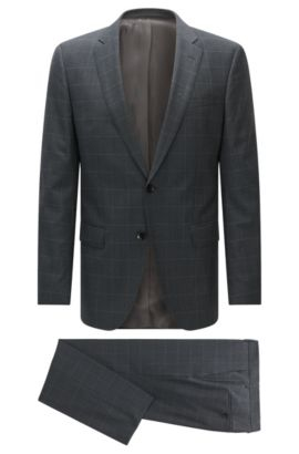Windowpane Italian Super 110 Virgin Wool Suit, Slim Fit | Huge/Genius, Grey