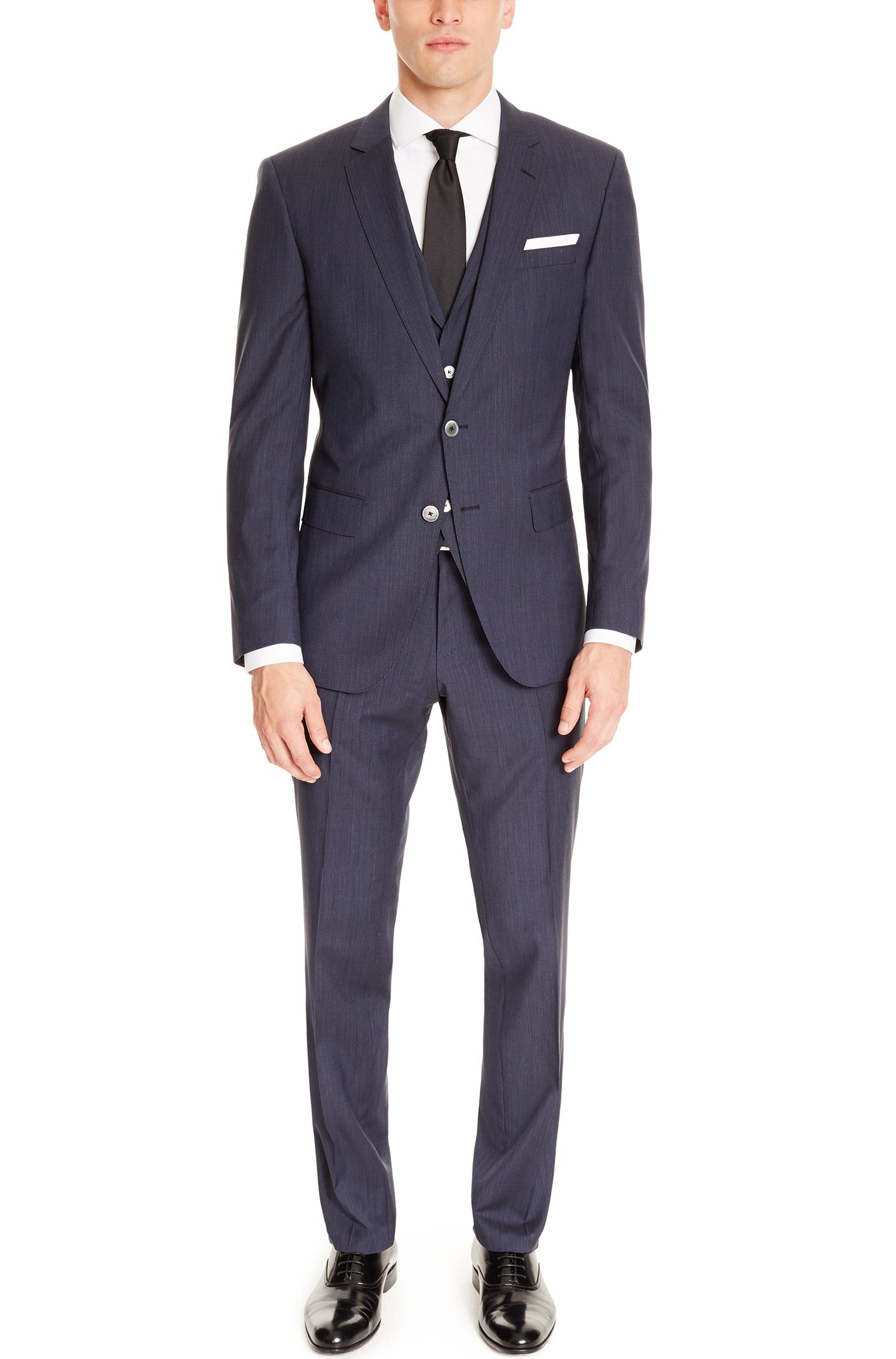 Striped Virgin Wool Blend 3-Piece Suit, Slim Fit | Hutson/Gander WE, Dark Blue