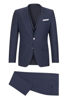 Striped Virgin Wool Blend 3-Piece Suit, Slim Fit | Hutson/Gander WE, Dark Blue