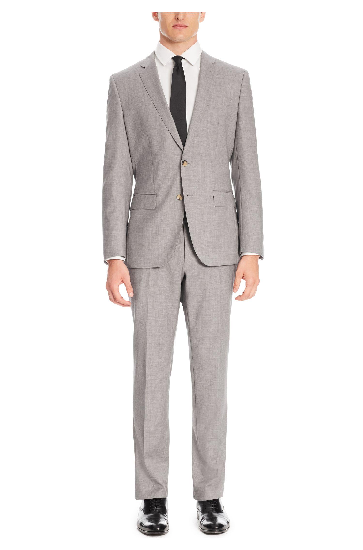 Italian Virgin Wool Suit, Slim Fit | Huge/Genius, Silver