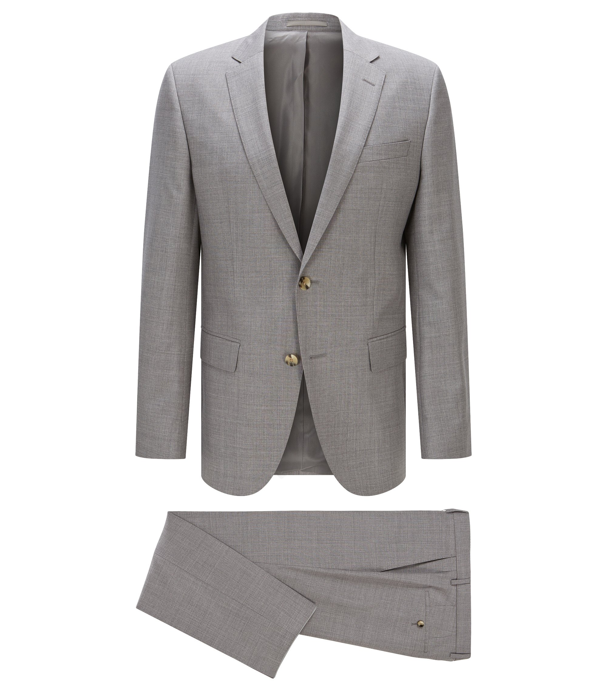 Italian Virgin Wool Suit, Slim Fit | Huge/Genius, Silver