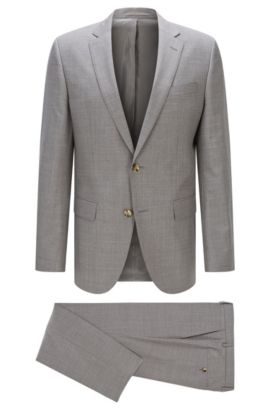 Italian Super 110 Virgin Wool Suit, Slim Fit | Huge/Genius, Silver