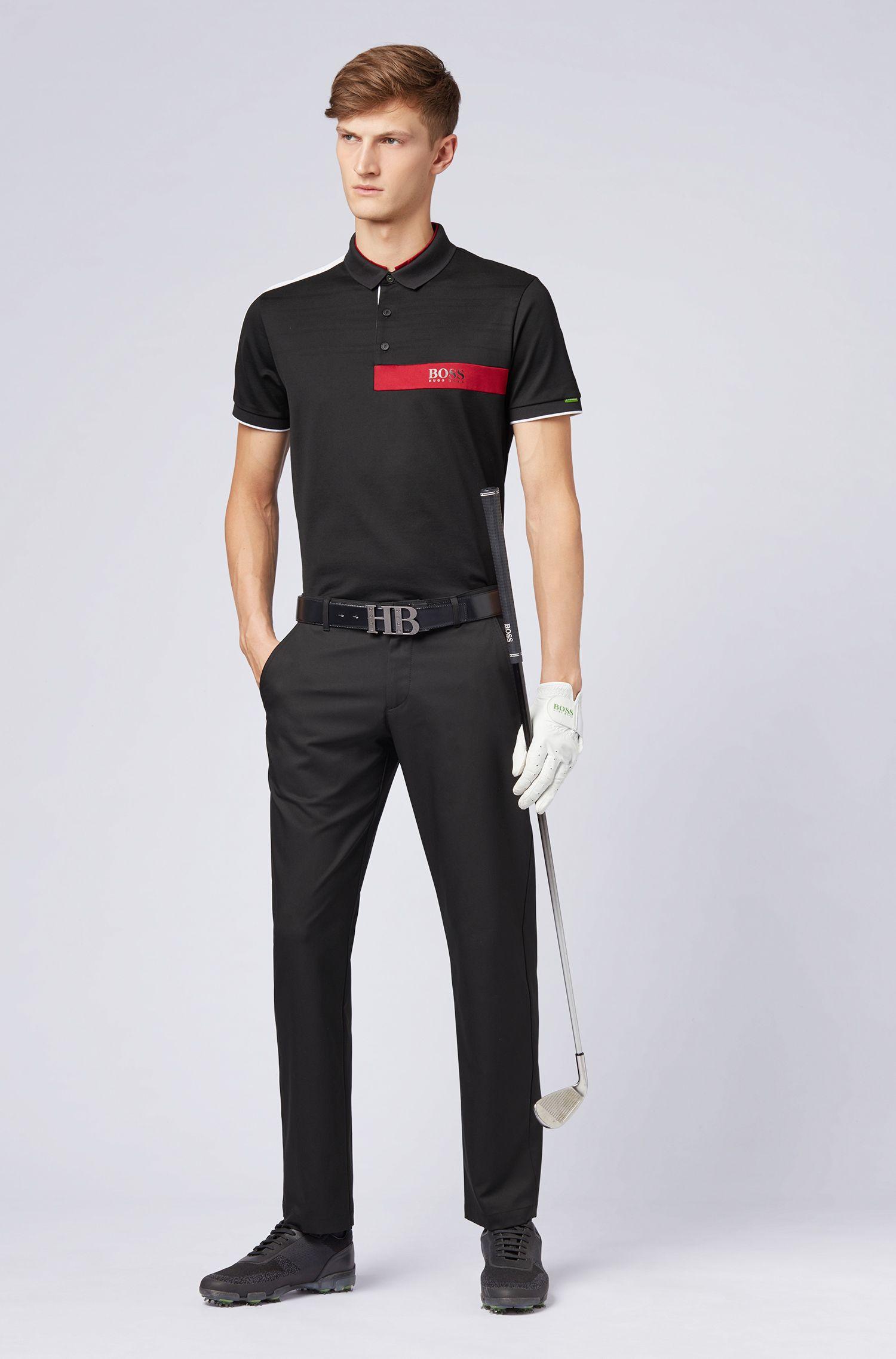 Slim-fit golf pants in technical twill, Black