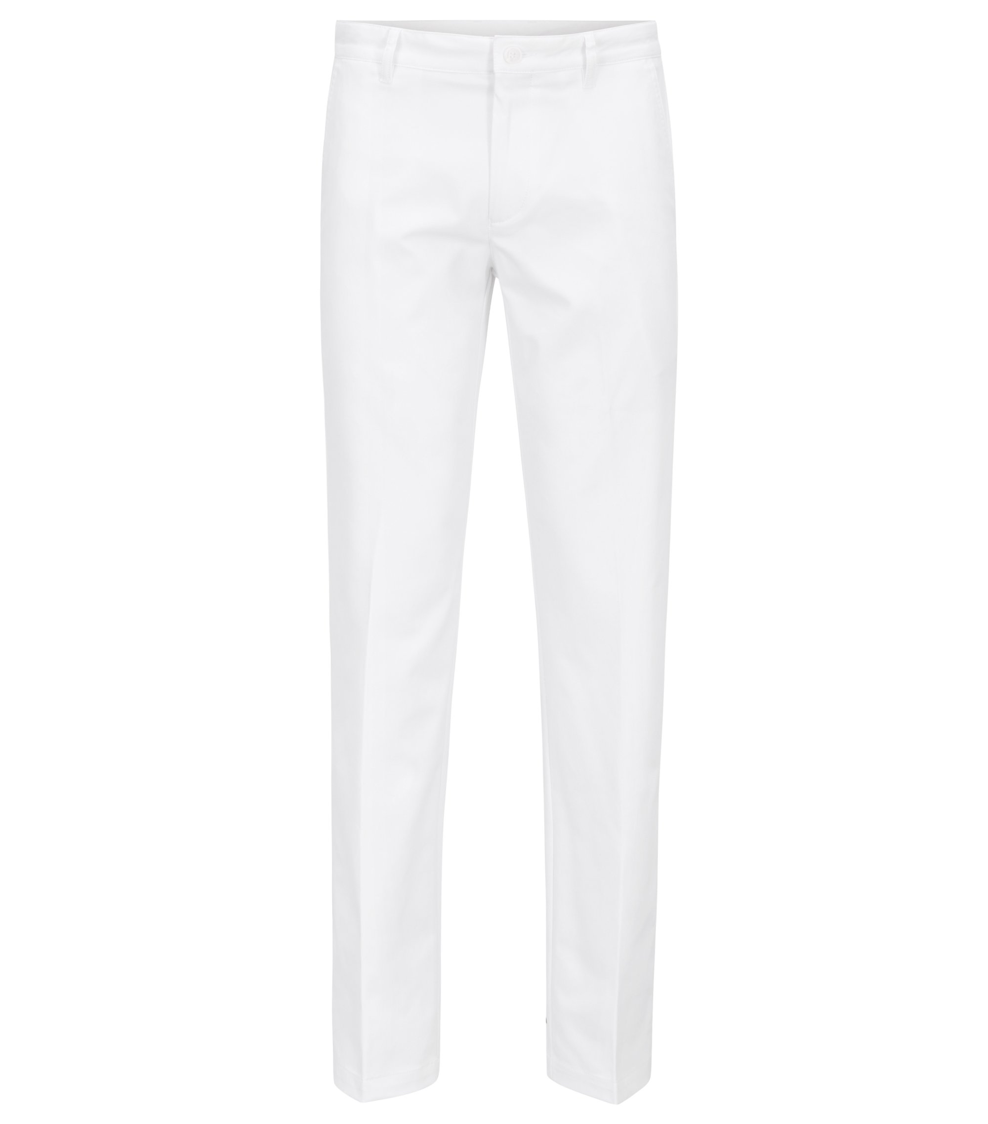 Slim-fit golf pants in technical twill, White