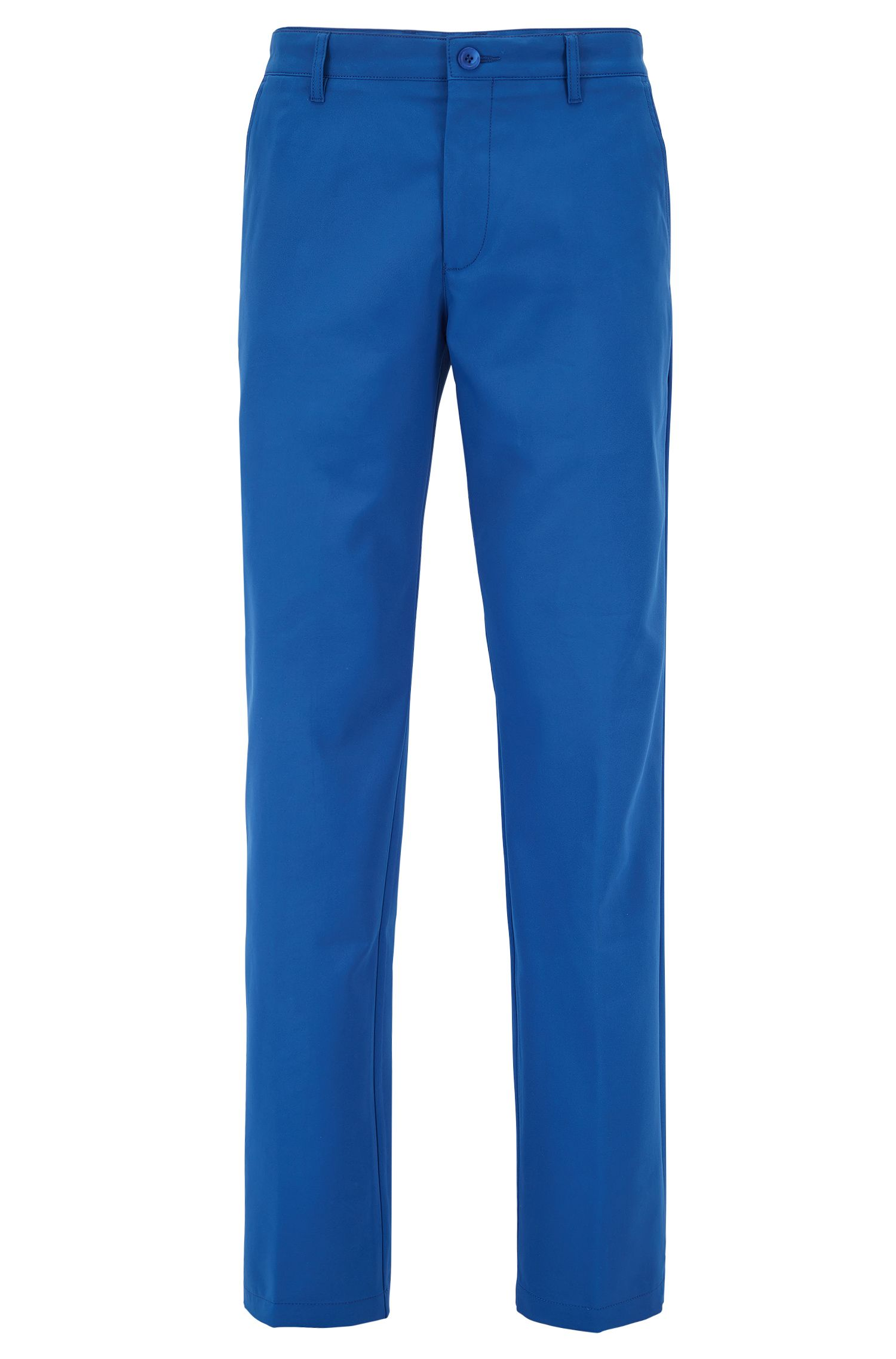 Slim-fit golf pants in technical twill, Blue