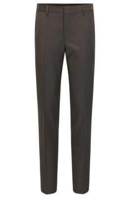 Virgin Wool Dress Pant, Slim Fit | Balte, Light Brown