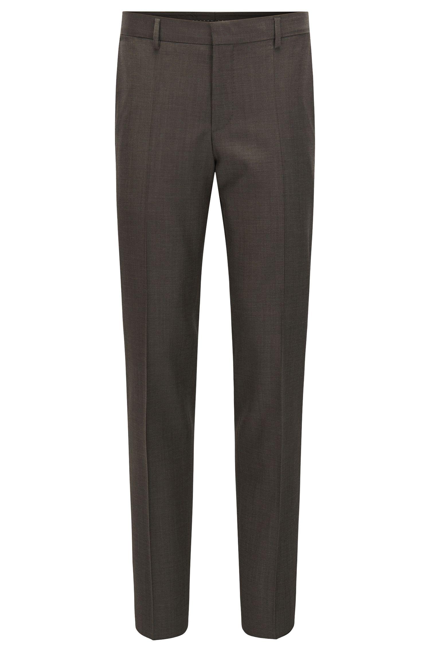 Virgin Wool Dress Pant, Slim Fit | Balte, Light Brown
