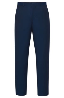 Virgin Wool Dress Pants, Slim Fit | Balte, Turquoise