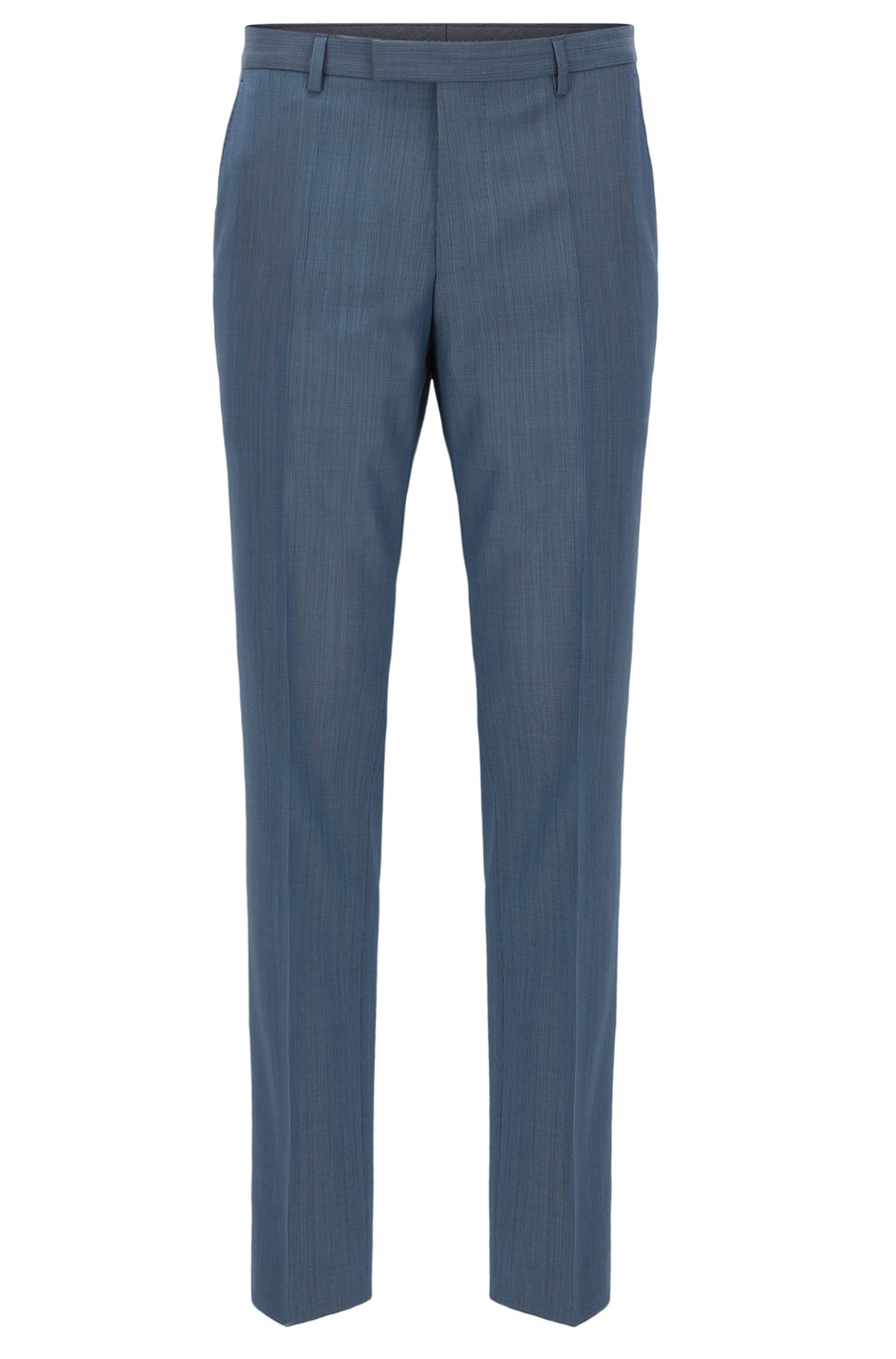 Nailhead Virgin Wool Dress Pant | Leenon, Open Blue
