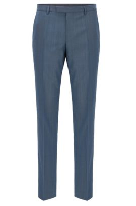 'Leenon' | Nailhead Virgin Wool Dress Pants, Open Blue
