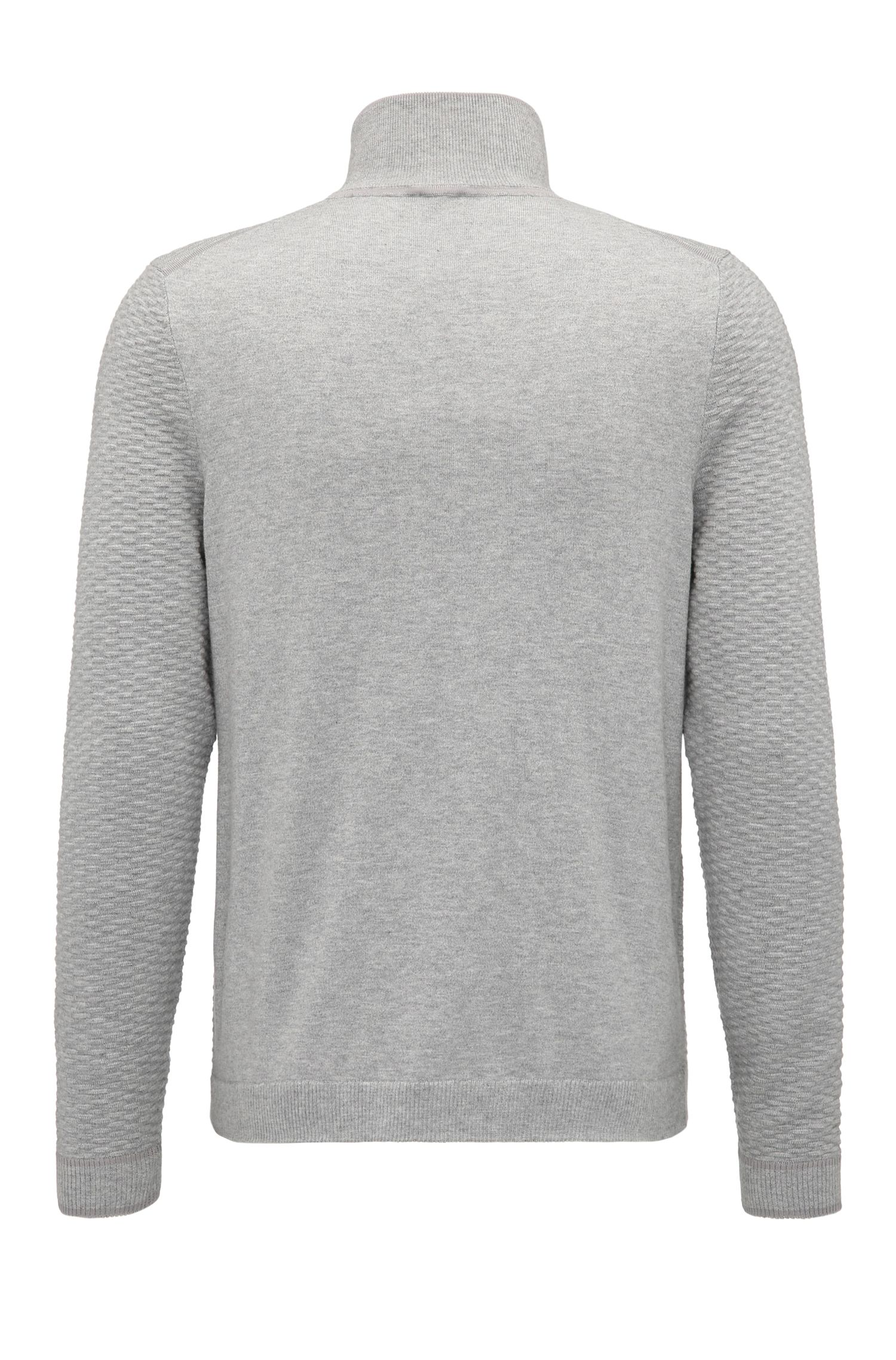 Dobby Stretch Cotton Sweater | Zote, Light Grey