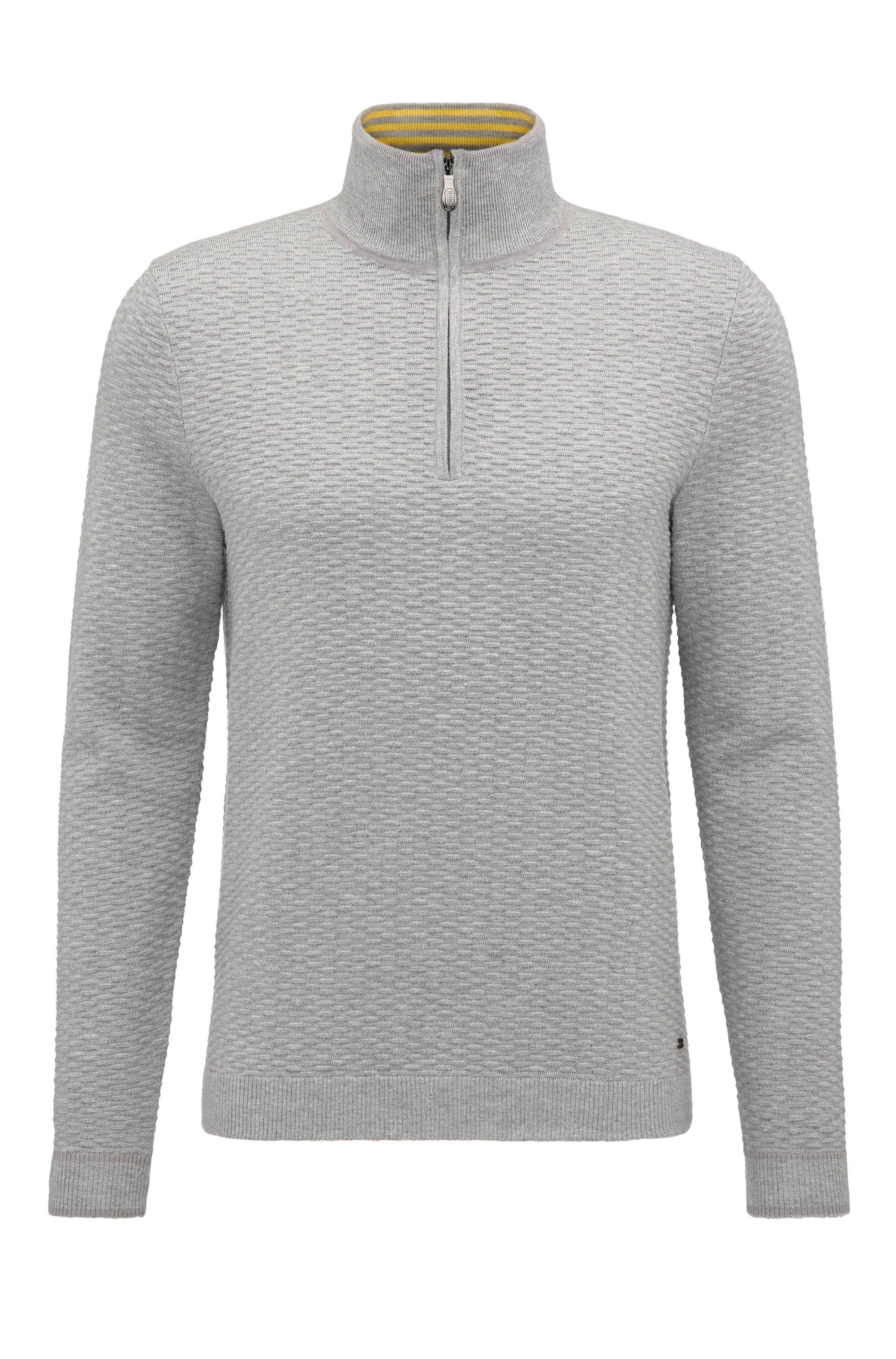 'Zote' | Dobby Stretch Cotton Sweater, Light Grey
