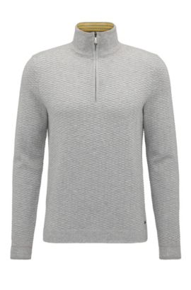 'Zote' | Dobby Stretch Cotton Sweater, Light Grey