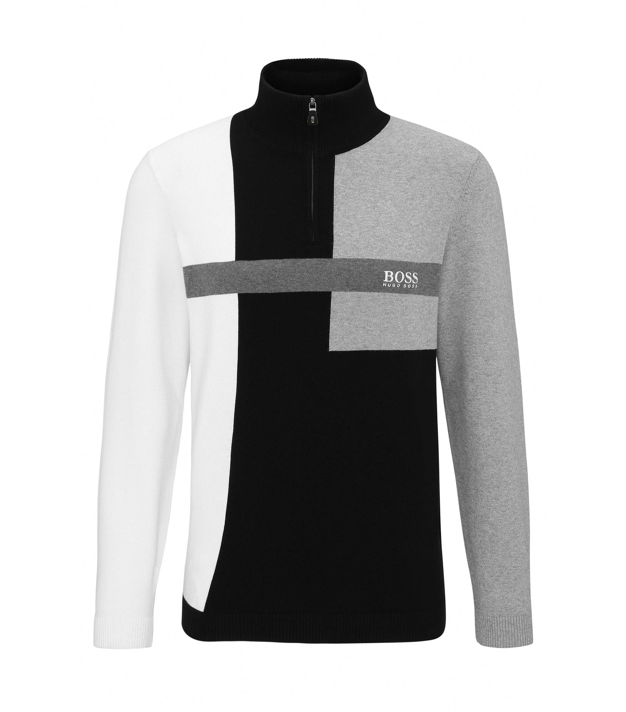 Colorblock Stretch Cotton Sweater   Zelchior Pro W17, Black